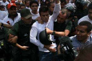 Copyright Edgamer Toro @edgamertoro Leopoldo Lopez gave himself up during an opposition march eleven months ago.